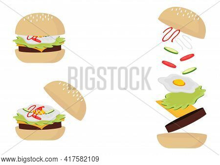 Burger Illustration With Three Types Of Outer Corner Burger Design, Inner Burger And Fill In The Inn