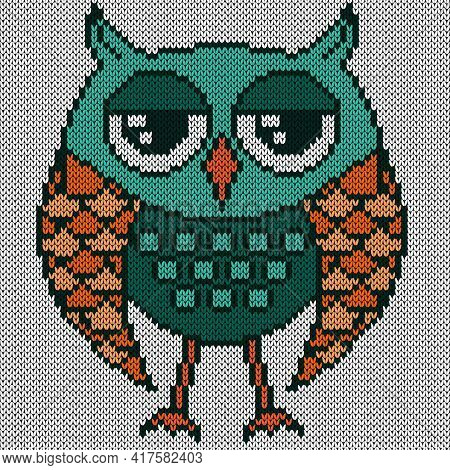Knitting Of Cartoon Funny Owl With Big Eyes In Turquoise And Orange Hues On The White Background, Il