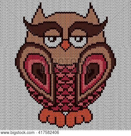 Knitting Of Big Serious Cartoon Owl In Brown And Pink Hues On The White Background, Illustration For