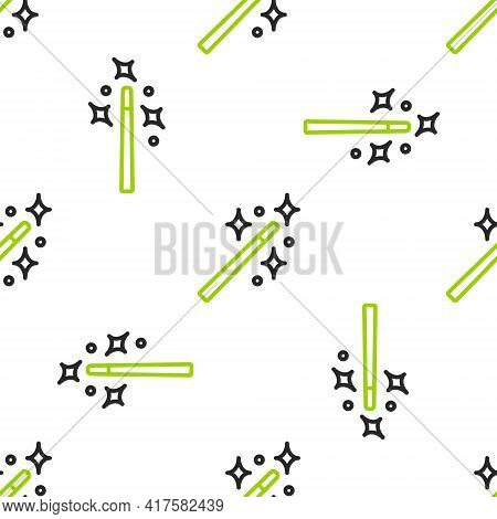Line Magic Wand Icon Isolated Seamless Pattern On White Background. Star Shape Magic Accessory. Magi