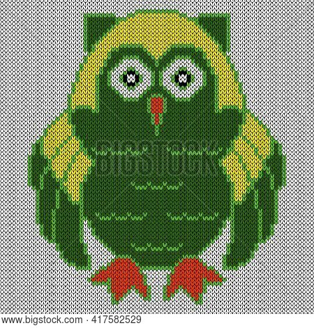 Knitting Of Cartoon Amusing Clever Owl In Green And Yellow Colors On The White Background, Illustrat