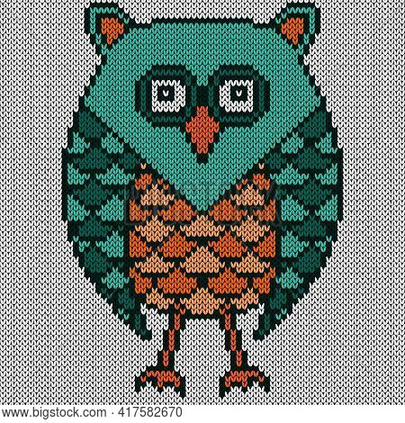 Knitting Of Cartoon Amusing Serious Owl In Turquoise And Orange Colors On The White Background, Illu