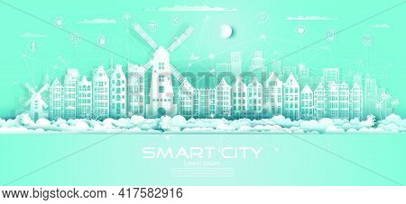 Technology Wireless Network Communication Smart City With Icon In Netherlands Downtown Skyscraper On