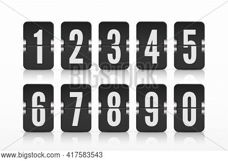 Vector Template With Flip Scoreboard Numbers And Reflections For Black Countdown Timer Or Calendar.