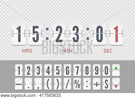 Vintage Symbols Time Meter Vector Template. White Analog Countdown Font. Flip Numbers Font Time Coun