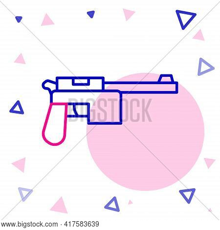 Line Mauser Gun Icon Isolated On White Background. Mauser C96 Is A Semi-automatic Pistol. Colorful O