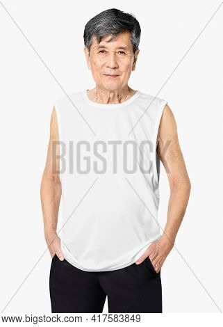 White tank top mature men's summer apparel with design space