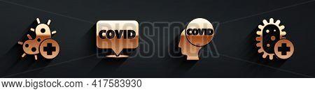 Set Positive Virus, Corona Virus Covid-19 On Location, Corona Virus Covid-19 And Positive Virus Icon