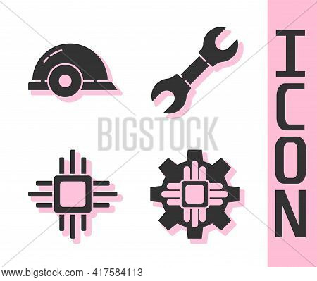 Set Processor, Worker Safety Helmet, Processor With Microcircuits Cpu And Wrench Spanner Icon. Vecto