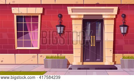 Cottage House Facade Front View, Home Building Exterior Of Red Brick With Window, Door And Rug At Do
