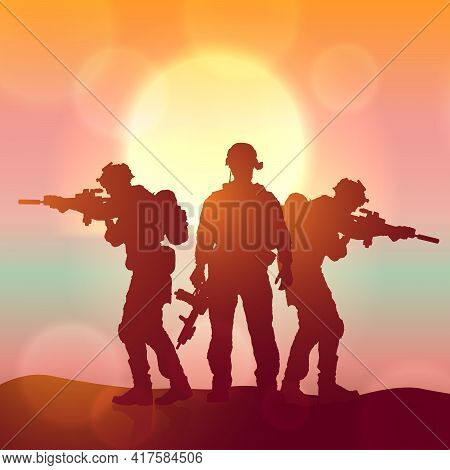 Silhouette Of A Soliders Against The Sunrise. Concept - Protection, Patriotism, Honor. Armed Forces