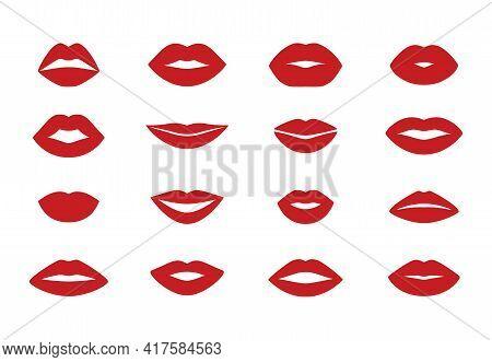 Woman S Lips. Cartoon Flat Kiss Shape Icons, Isolated Lipstick Sensual Silhouette Set. Vector Beauty