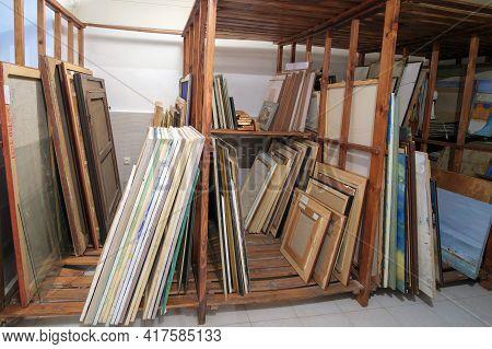 Batumi, Georgia, December, 17, 2020: Batumi Art Museum, Wooden Shelves At Art Gallery Storage Full O