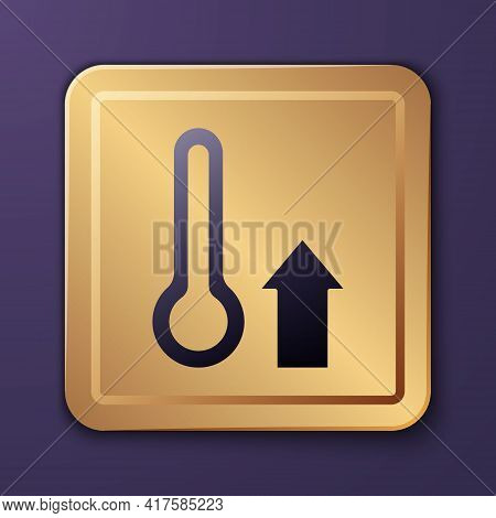 Purple Meteorology Thermometer Measuring Icon Isolated On Purple Background. Thermometer Equipment S