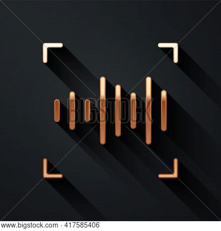 Gold Voice Recognition Icon Isolated On Black Background. Voice Biometric Access Authentication For
