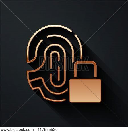 Gold Fingerprint With Lock Icon Isolated On Black Background. Id App Icon. Identification Sign. Touc