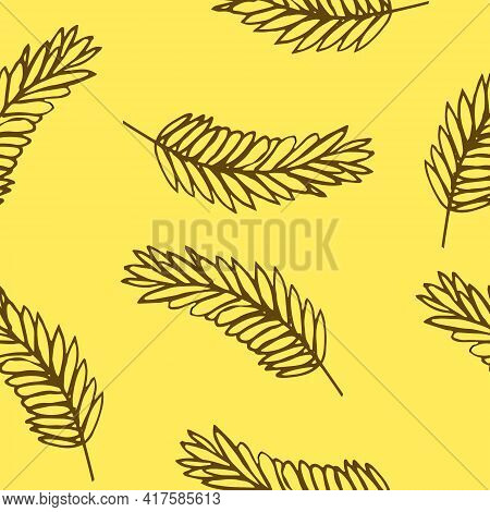 Spikelet Seamless Pattern. Hand Drawn Doodle Style. Vector, Minimalism, Sketch. Wrapping Paper, Text