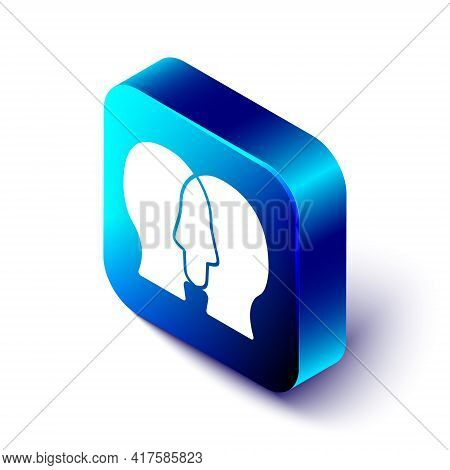 Isometric Bipolar Disorder Icon Isolated On White Background. Blue Square Button. Vector