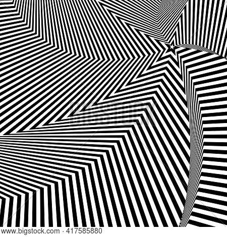 Illusion Abstract Star Black And White Circular Pattern. Illusion Of Vortex Movement. Geometric Patt