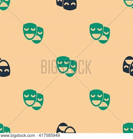 Green And Black Comedy And Tragedy Theatrical Masks Icon Isolated Seamless Pattern On Beige Backgrou