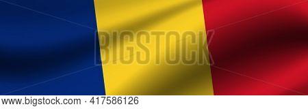 Banner With The Flag Of Romania. Fabric Texture Of The Flag Of Romania.