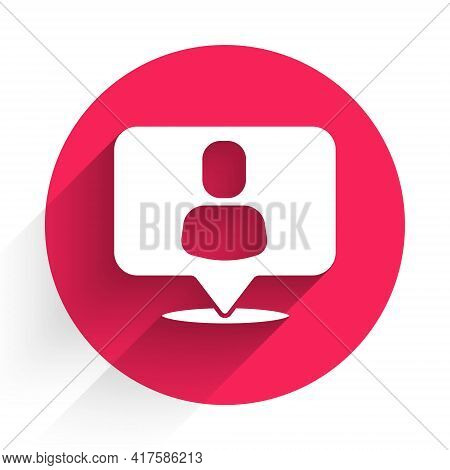 White Head Hunting Icon Isolated With Long Shadow. Business Target Or Employment Sign. Human Resourc