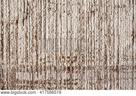 Beige Striped Textile Texture Of The Fluffy Carpet. Interior Backgrounds And Textile Patterns