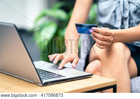 Credit Card Purchase And Payment With Laptop. Woman Shopping Online And Buying From Internet Store S