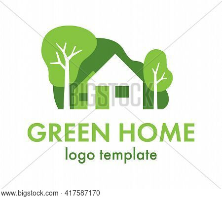 Green Home Logo Template - House Designed To Be Environmentally Sustainable Buliding, Utilize Sustai