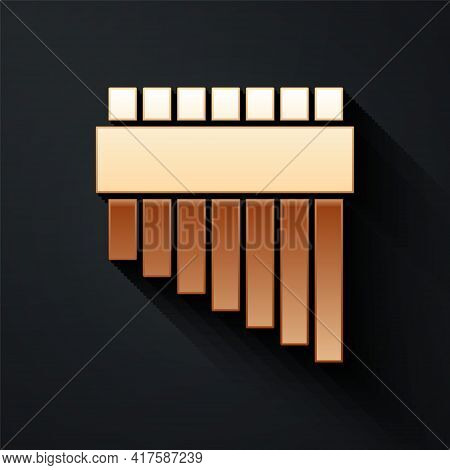 Gold Pan Flute Icon Isolated On Black Background. Traditional Peruvian Musical Instrument. Zampona.