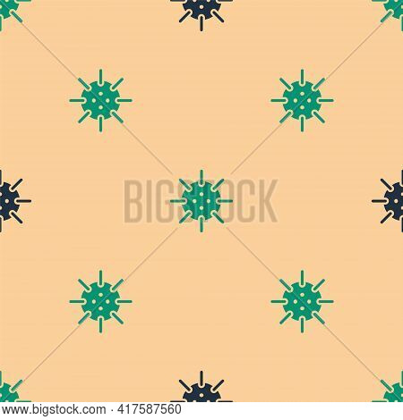 Green And Black Naval Mine Icon Isolated Seamless Pattern On Beige Background. Sea Bomb. Vector