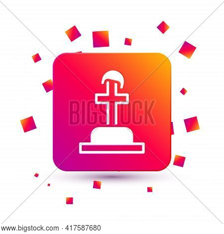 White Soldier Grave Icon Isolated On White Background. Tomb Of The Unknown Soldier. Square Color But