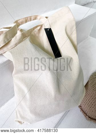New White Tote Bag Or Shopper With Blank Label