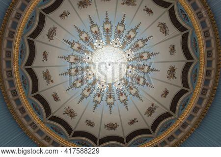 Batumi, Georgia, December, 22, 2020: Batumi Drama Theater. Large Chandelier Hangs On The Theater Hal