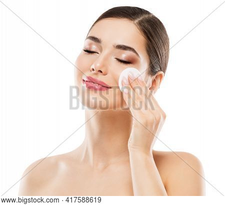 Woman Cleaning Face Skin. Remove Make Up With Cotton Pads. Clean Facial Beauty Treatment. Healthy Sk