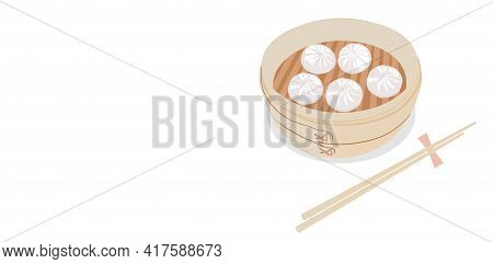Dim Sum In A Steamer Vector Stock Illustration. Chinese Food In A Bamboo Steamer Box. Banner With Sp
