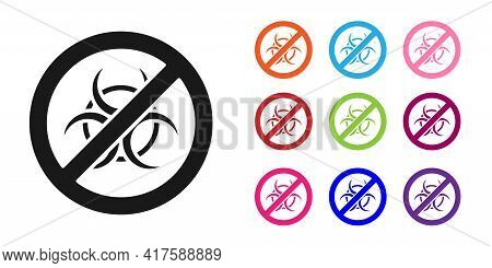 Black Stop Gmo Icon Isolated On White Background. Genetically Modified Organism Acronym. Dna Food Mo