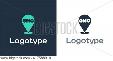 Logotype Gmo Icon Isolated On White Background. Genetically Modified Organism Acronym. Dna Food Modi