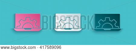 Paper Cut Software, Web Development, Programming Concept Icon Isolated On Blue Background. Programmi