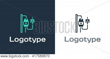 Logotype Iv Bag Icon Isolated On White Background. Blood Bag. Donate Blood Concept. The Concept Of T