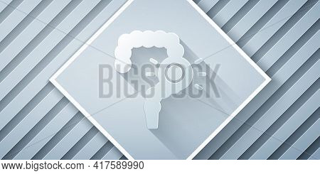 Paper Cut Gut Constipation Icon Isolated On Grey Background. Bowel Problems. Paper Art Style. Vector