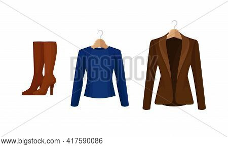 Woman Clothing With Long Sleeved Jacket On Wooden Hanger And Pair Of Tall Boots Vector Set