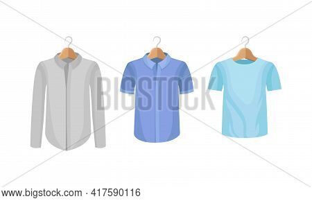Man Clothing With Long Sleeved Shirt And Sweatshirt On Wooden Hanger Vector Set