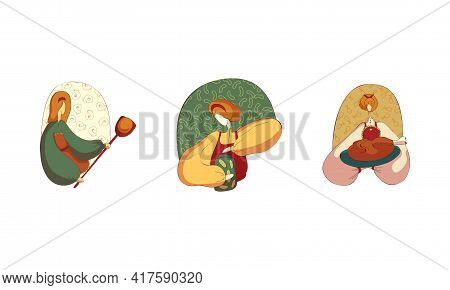 Woman In Apron Baking Bread, Preserving Cucumbers And Holding Roasted Chicken Served On Plate Vector