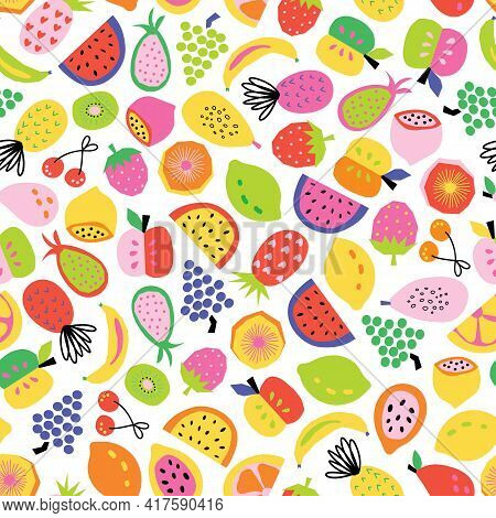 Fruit Seamless Pattern Hand Drawn. Vector Repeat Background For Colorful Summer Fabric. Cute Healthy