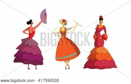 Young Woman Performing Different Folk Dances Moving Gracefully Vector Set