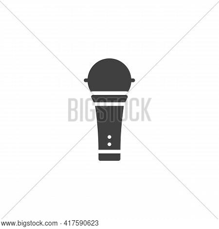 Wireless Microphone Vector Icon. Filled Flat Sign For Mobile Concept And Web Design. Karaoke Microph