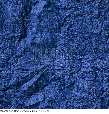 Seamless Texture. Abstract Blue Background. Crumpled Blue Paper Background.textured Backdrop. Paper