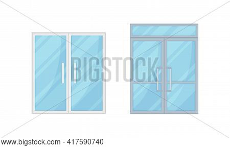 Double Glass Doors As Hinged Movable Barrier Used As Entrance In The Building Vector Set