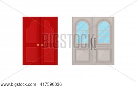 Double Door As Hinged Movable Barrier Used As Entrance In The Building Vector Set